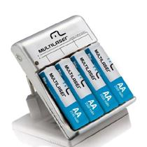 Carregador de Pilhas AA/AAA com 4 Pilhas Recarregáveis CB054 Multilaser -