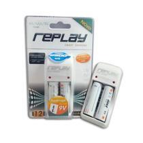Carregador de Pilhas Com 2 Pilhas AA 2500mAh AA/AAA/ bateria 03O134 Replay/Unicoba -