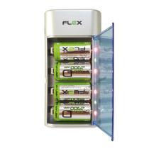 Carregador de Pilhas Flex AA AAA C D ou Baterias 9v Led com 4 Pilhas D 2900mAh Recarregáveis FX-C06 -