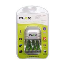 Carregador de Pilhas Flex com 4 pilhas AAA 1100mAh Recarregável Desligamento Automático e Led FX-C03 -