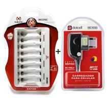 Carregador de Pilhas Mox 8 slots para Pilhas AA ou AAA e Fonte de Energia Micro Usb Mo-Cp80 Bivolt -