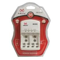 Carregador de Pilhas Mox AA AAA e Baterias 9v Desligamento Automático Leds Bivolt Inmetro MO-CP50 -