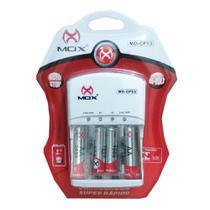 Carregador de Pilhas Mox com 2 pilhas AA 2600mAh + 2 Pilhas AAA 1000mAh Palito Recarregáveis MO-CP53 -