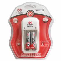 Carregador de Pilhas Mox com 2 pilhas AAA 1000mAh Palito Recarregáveis Deslig Autom e Led MO-CP32 -