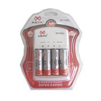 Carregador de Pilhas Mox com 4 pilhas AA 2600 mAh Recarregáveis Desligamento Automático e Led MO-CP51 -