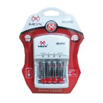 Carregador de Pilhas Mox com 4 pilhas AAA 1000 mAh Palito Recarregáveis Desligamento Automático e Led MO-CP52 -