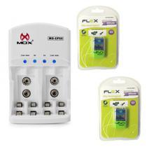 Carregador de Pilhas Mox Cp50 Com 2 Baterias Flex 9v 450 mah Recarregáveis FX-9V/450 -