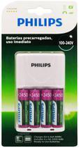 Carregador de Pilhas Philips com 4 PIlhas AA Recarregáveis 2450 mAh -