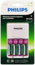 Carregador de Pilhas Philips com 4 Pilhas Aa Recarregáveis 2450mAh SCB2445NB Bivolt Branco -