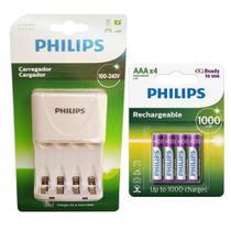 Carregador de Pilhas Philips com 4 Pilhas Aaa Palito 1000 mAh Recarregáveis RTU Bivolt Inmetro -