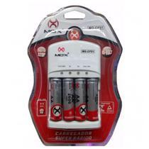 Carregador de Pilhas Rápido + 4 Pilhas AA 2600 mah Mox CP-51 -