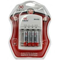 Carregador de Pilhas Rápido MOX CP-52 + 4 Pilhas AAA 1000mah -