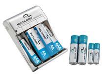 Carregador de Pilhas Recarregáveis Multilaser - com 4 AAA e 4 AA