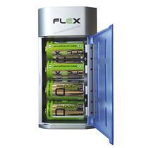 Carregador de Pilhas Universal AA AAA C D e Baterias 9v Led com 4 Pilhas D 2900 Recarregáveis FX C06 - Flex