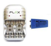 Carregador Flex Com 1 Bateria de Lítio Rontek Recarregável 680mAh 9v Potente Microfone Violão FX-C03 -