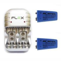 Carregador Flex Com 2 Bateria de Lítio Rontek Recarregável 680mAh 9v Potente Microfone Violão FX-C03 -