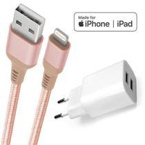 Carregador iPhone com cabo Lightning original MFI Geonav em nylon reforçado -