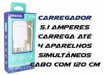 Carregador Micro Usb V8 Com 3 Usb Inova 5.1A -