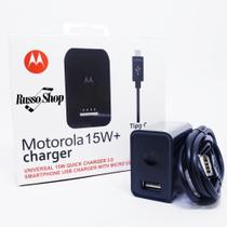 Carregador Motorola Turbo Power Usb Tipo C Moto Z2 Z3 Play X4 M ONE G6 Plus G7 Power G7 Play Preto - Russo shop