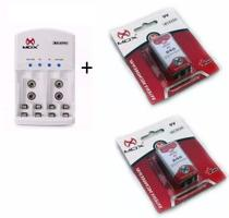 Carregador Mox + 2 Baterias 9V Recarregáveis -