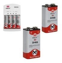 Carregador Mox + 4 Pilhas AA + 2 Baterias 9v Mox -