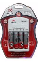 Carregador Mox Com 4 Pilhas Aa Recarregável 2600 Mah Mo-cp51 -