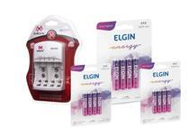 Carregador Mox rápido Bivolt CP50  + 12 pilhas AAA recarregáveis 1000mah Elgin - MOX / ELGIN