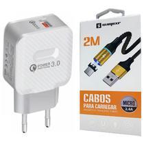 Carregador Original Turbo + Cabo Magnético de 2 Metros P/ Samsung j2 j3 j4 j5 j7 Prime - Sumexr