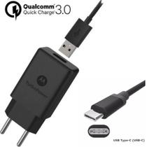 Carregador P/ Motorola Turbo Power Qc3.0 30w Type C Moto One Z Z2 Z3 Play X4 M G6 G6 Plus G7 G7 Power Preto - Quickcharge