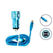 Carregador Para Carro Mega Rápido 3.4A Com 2 Entradas USB Com Cabo Tipo Iphone Azul Ciano CAR-2106D - Inova -