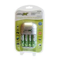 Carregador Para Pilhas 4aa/aaa Ou 2 Bateria 9v Flex Com 4aa  Fx-c03/4p - Rcdeletrica