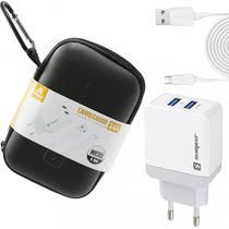 Carregador para Viagens Original Sumexr 3.4A 1M V8 com estojo portátil Para Celular Samsung J2 Prime, J4 Core, J8 -