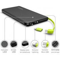 Carregador portatil pineng 5000mah slim preto compativel iphone 8 -