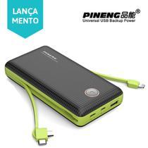 Carregador Portatil Pineng PN 959 20.000 mah - Com Conector Type C, LIghtining e V8 - Preto/Verde -