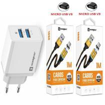 Carregador Rápido + 2 Cabo Magnético Micro Usb V8 Compativel com Celular Motorola Moto G5 G5S G5 Plus G4 Plus - Sumexr