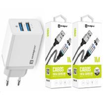 Carregador Rápido + 2 Cabo Magnético USB Tipo C para Celular Asus zenfone 3 e 4 - Sumexr