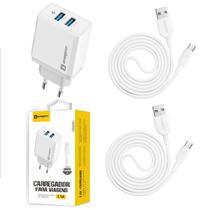 Carregador Rápido + 2 Cabos Micro USB Original Sumexr para Celular Lg K9 K10 K11 K12 -