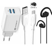Carregador Rápido 2 USB Sumexr e Fone Compativel Com Moto G4 G5S G5 Plus -