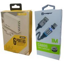 Carregador Rápido 6 USB + Cabo Magnético Original Sumexr para Samsung S8, S9, S10 -