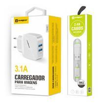 Carregador Rápido + Cabo Anti Enrrolamento Tipo C Original Sumexr Para Celular Samsung S8, S8 Plus, S9, S9 Plus -