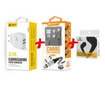Carregador Rápido + Cabo Magnético 3 em 1 + Fone Original Sumexr Para Celular iPhone 10, X, Xr, Xs, Xs Max -