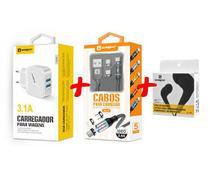 Carregador Rápido + Cabo Magnético 3 em 1 + Fone Original Sumexr Para Celular iPhone 5, 5g, 5c, 5s, SE -