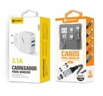Carregador Rápido + Cabo Magnético 3 em 1 Original Sumexr Para Celular iPhone 5, 5g, 5c, 5s, SE -