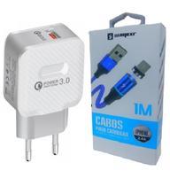 Carregador Rápido + Cabo Magnético Sumexr para Celular I Phone I6, i6 Plus 7, X -