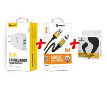 Carregador Rápido + Cabo Magnético V8 + Fone Original Sumexr Para Celular Samsung J1, J2, J3, J5, J7 -