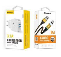 Carregador Rápido + Cabo Magnético V8 Original Sumexr Para Celular Samsung S6, S6 Edge, S7, S7 Edge -
