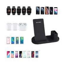 Carregador sem fio 3 em 1 para celular relogio e fone dock compativel com iphone samsung airpods wath - GIMP