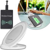 Carregador Sem Fio Wireless LT-210 Smartphone Android Receptor V8 Padrão QI Cabo USB Indução Branco - Nem Compara