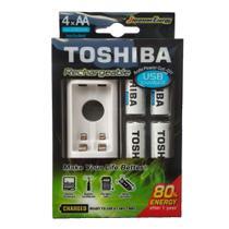 Carregador Toshiba com 4 Pilhas Aa Recarregáveis Micro USB TNHC6GME4 -
