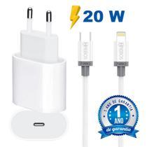 Carregador Turbo 20W Para iPhone + Cabo USB Tipo C Lightning Super Reforçado - Hrebos